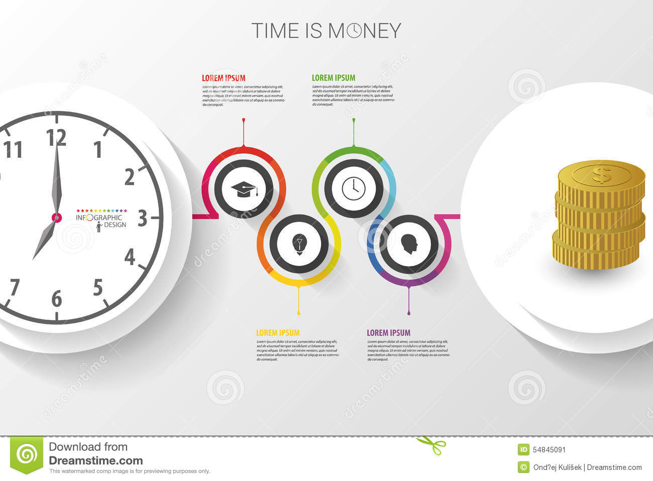 abstract work time management planning infographics template stock