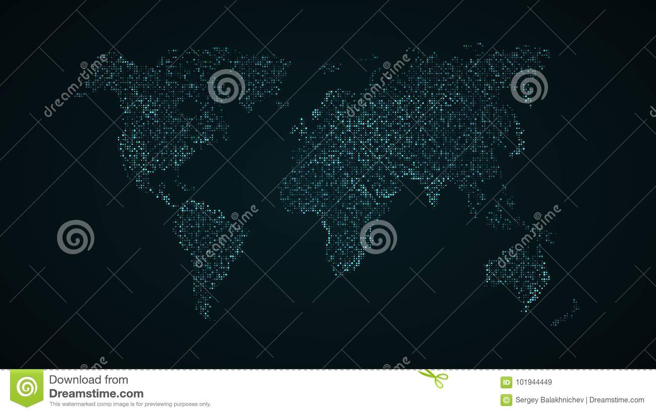 Square Earth Map.Abstract World Map Blue Map Of The Earth From The Square Points