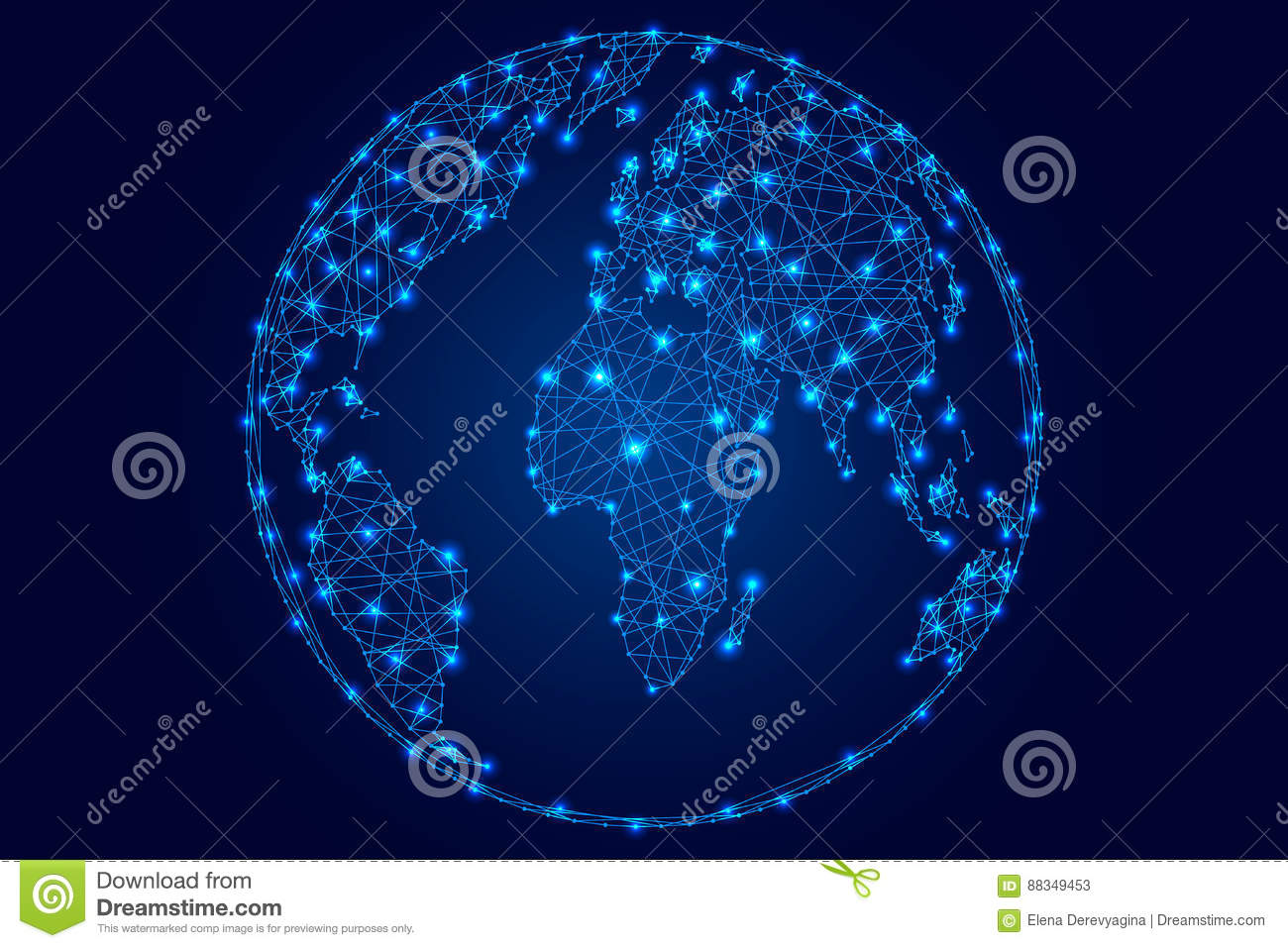 Abstract world map on a globe ball of polygonal blue lines stars on abstract world map on a globe ball of polygonal blue lines stars on dark background of illustration gumiabroncs Gallery