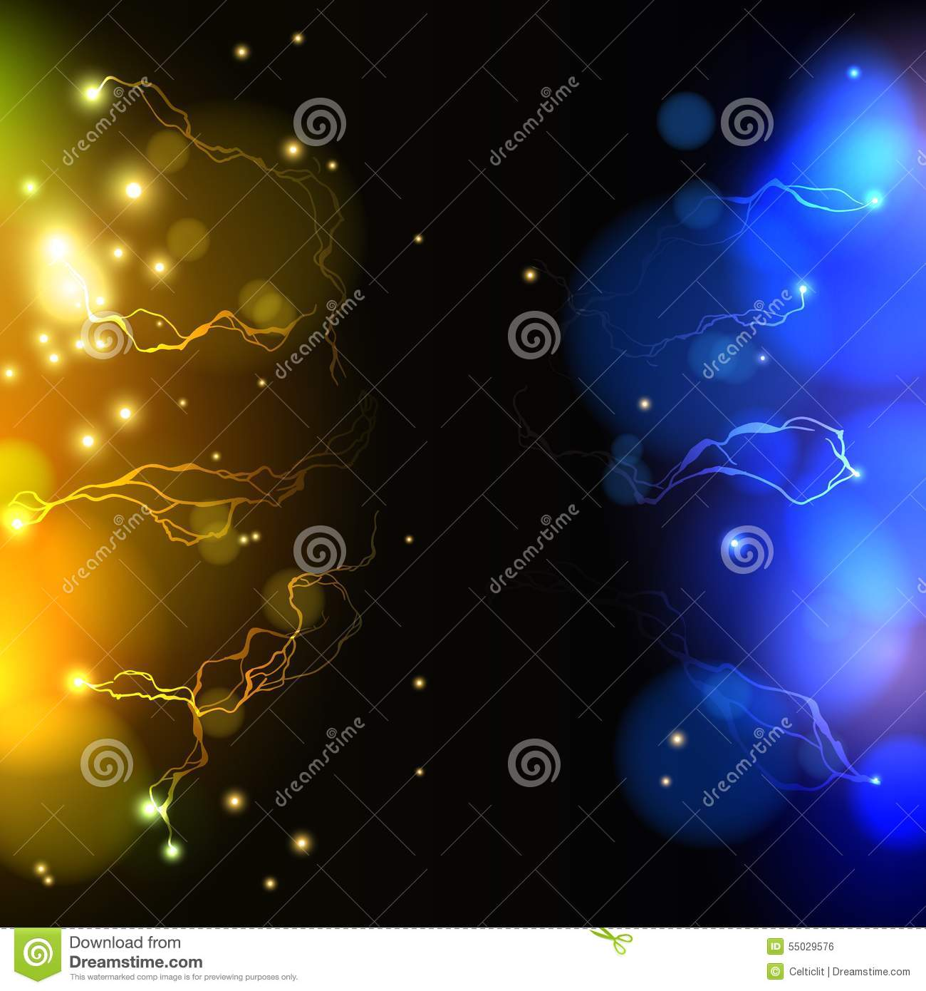 Abstract Yellow And Blue Lightning Vector Science Stock ...