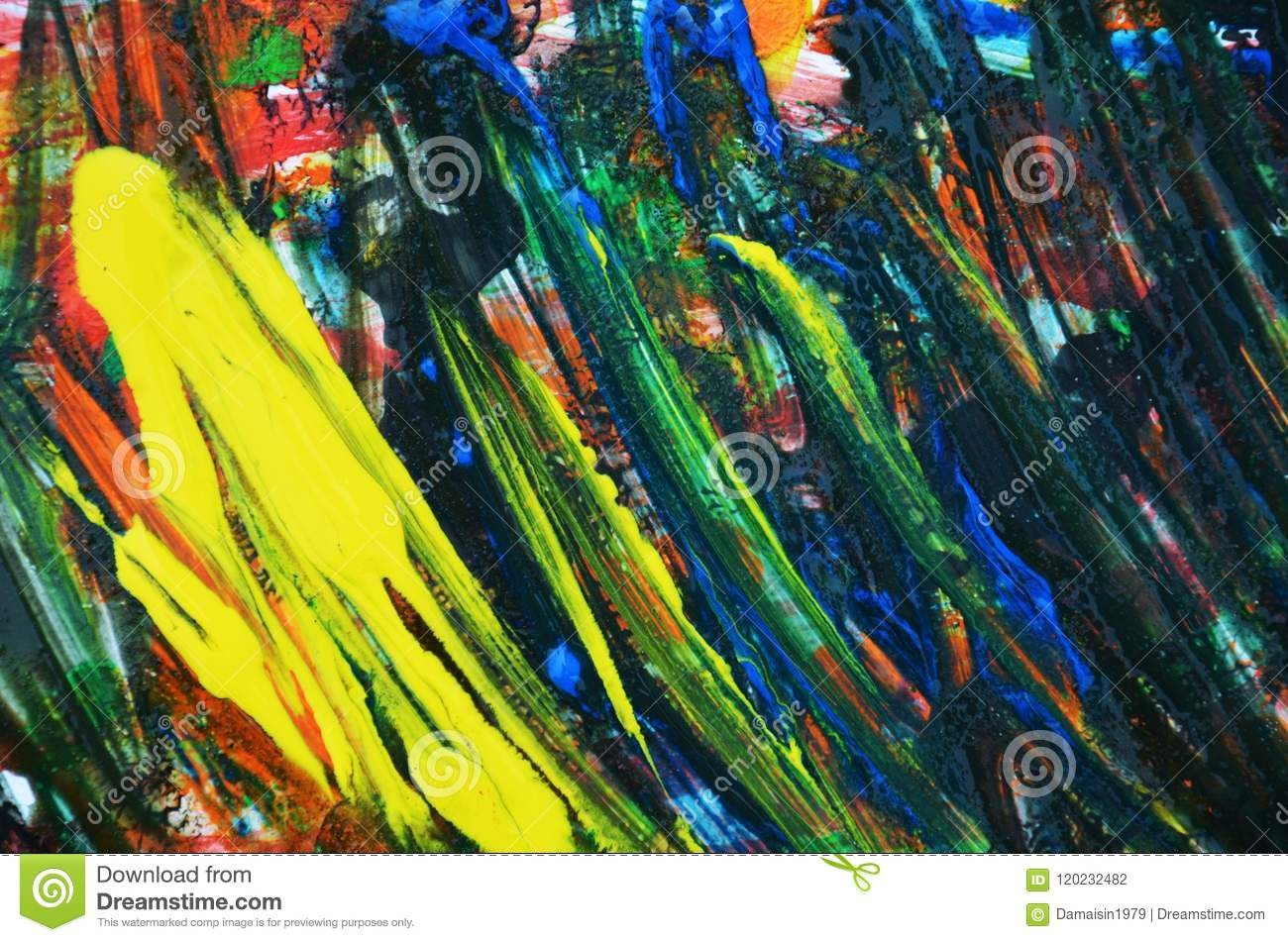 Abstract Yellow Dark Blue Paint Background, Soft Mix Colors ...