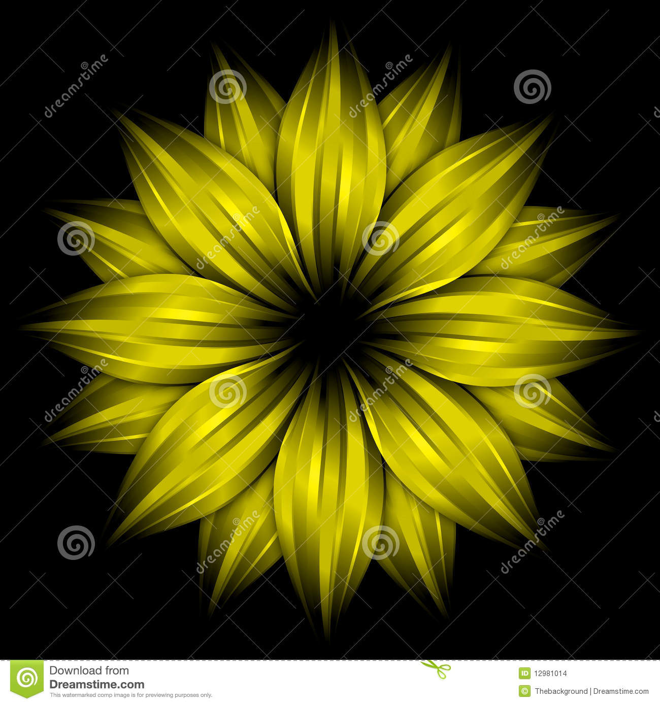 Abstract Yellow Flower On Black Background Stock
