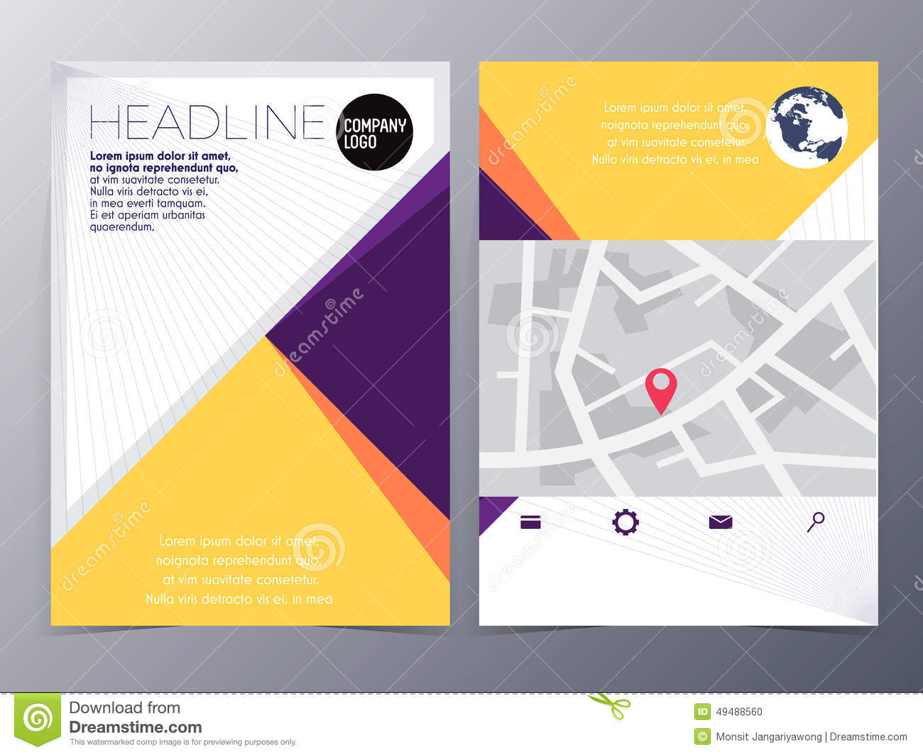 Abstract Yellow Geometric Flyer Design Template Vector Mock Up – Geometric Flyer Template