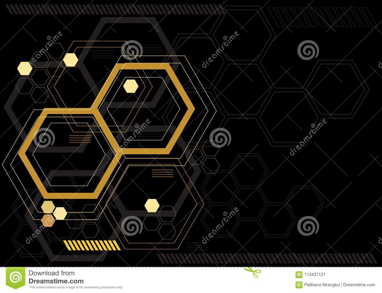 Abstract yellow hexagon digital graphic on black monitor technology computor design modern futuristic vector