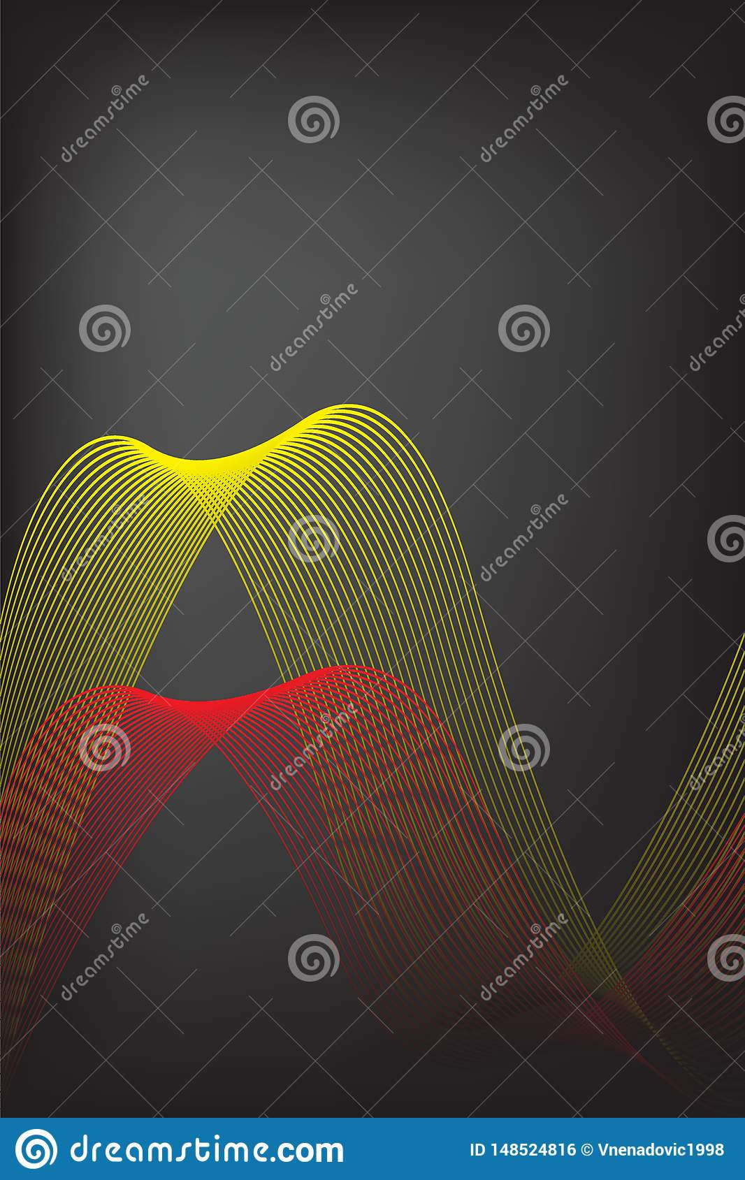 Abstract yellow and red line with black blur background. Brochure design, front page template vector graphic illustration.