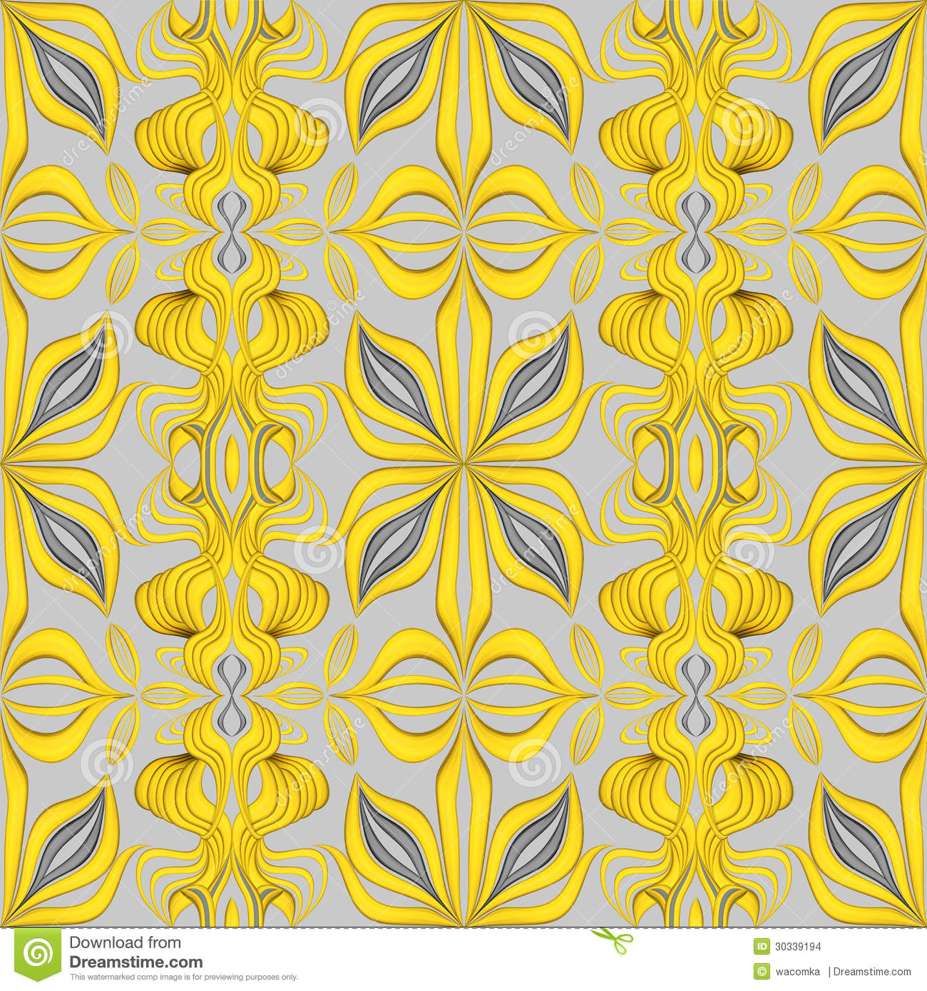 Abstract Yellow Seamless Ornate Leaves Pattern Background