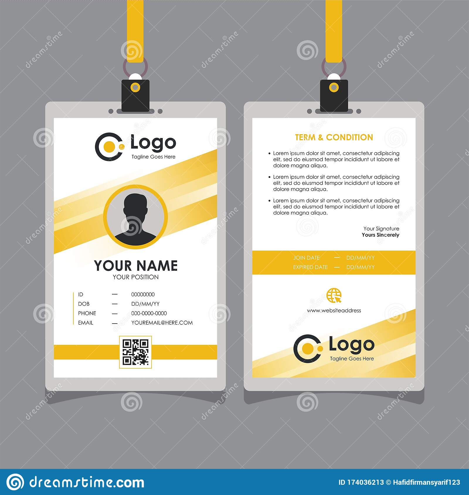 Abstract Yellow Line Id Card Design Template Vector Stock Vector Intended For Template For Id Card Free Download