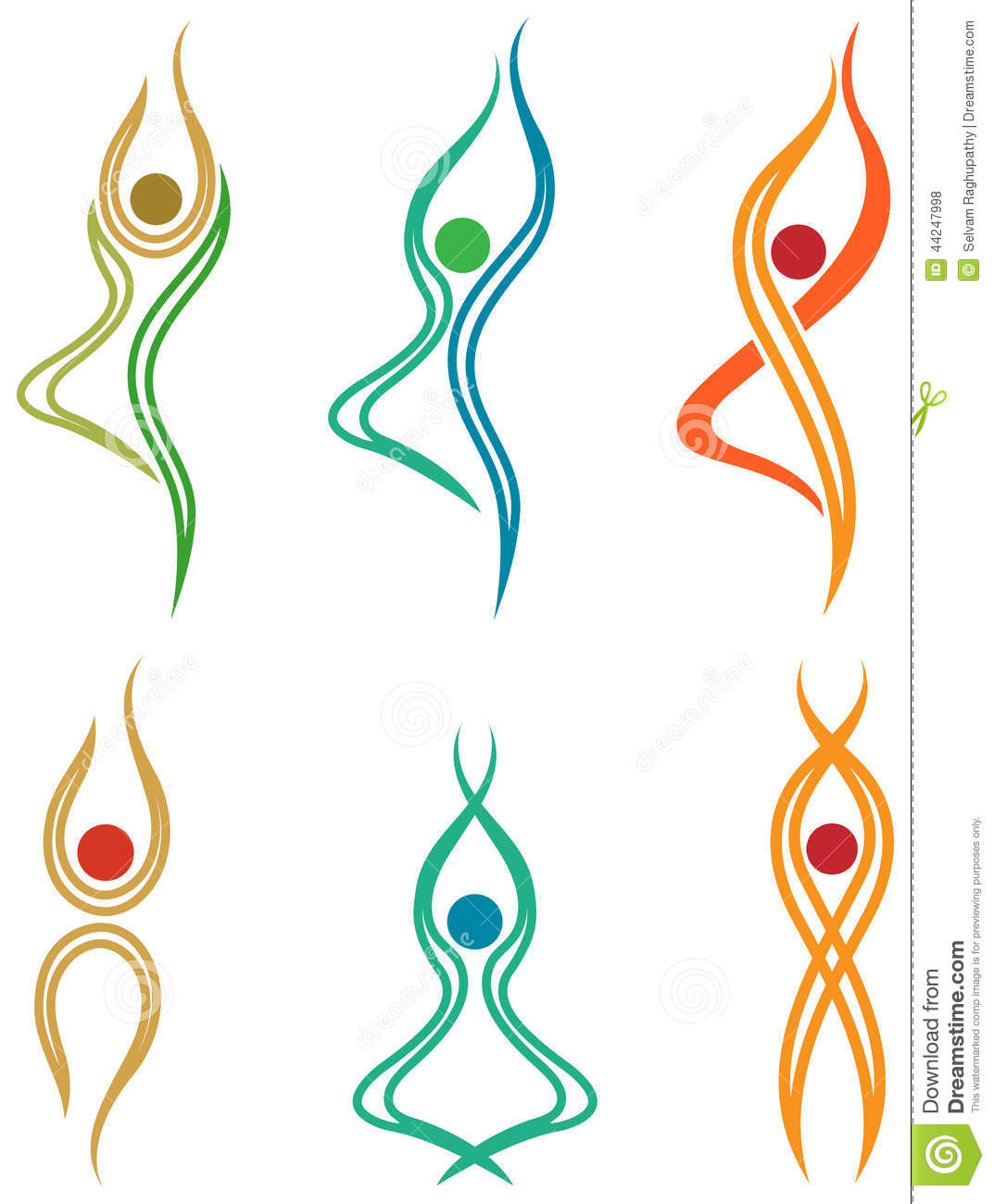 Line Art Yoga : Abstract yoga symbols stock vector image