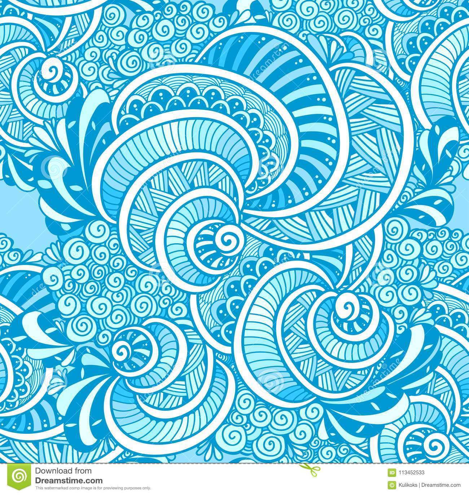 Abstract Zen Tangle Zen Doodle Marine Seamless Pattern Blue Stock