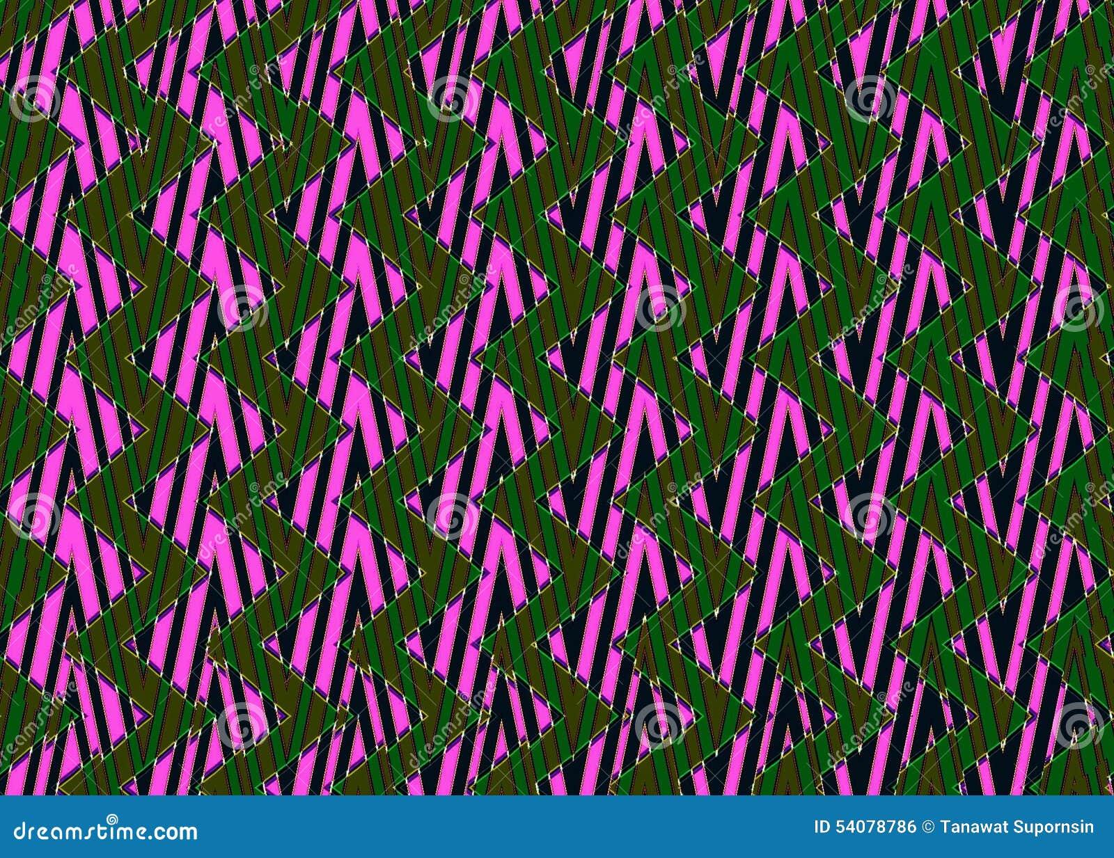 Abstract Zwart roze groen Zigzagpatroon
