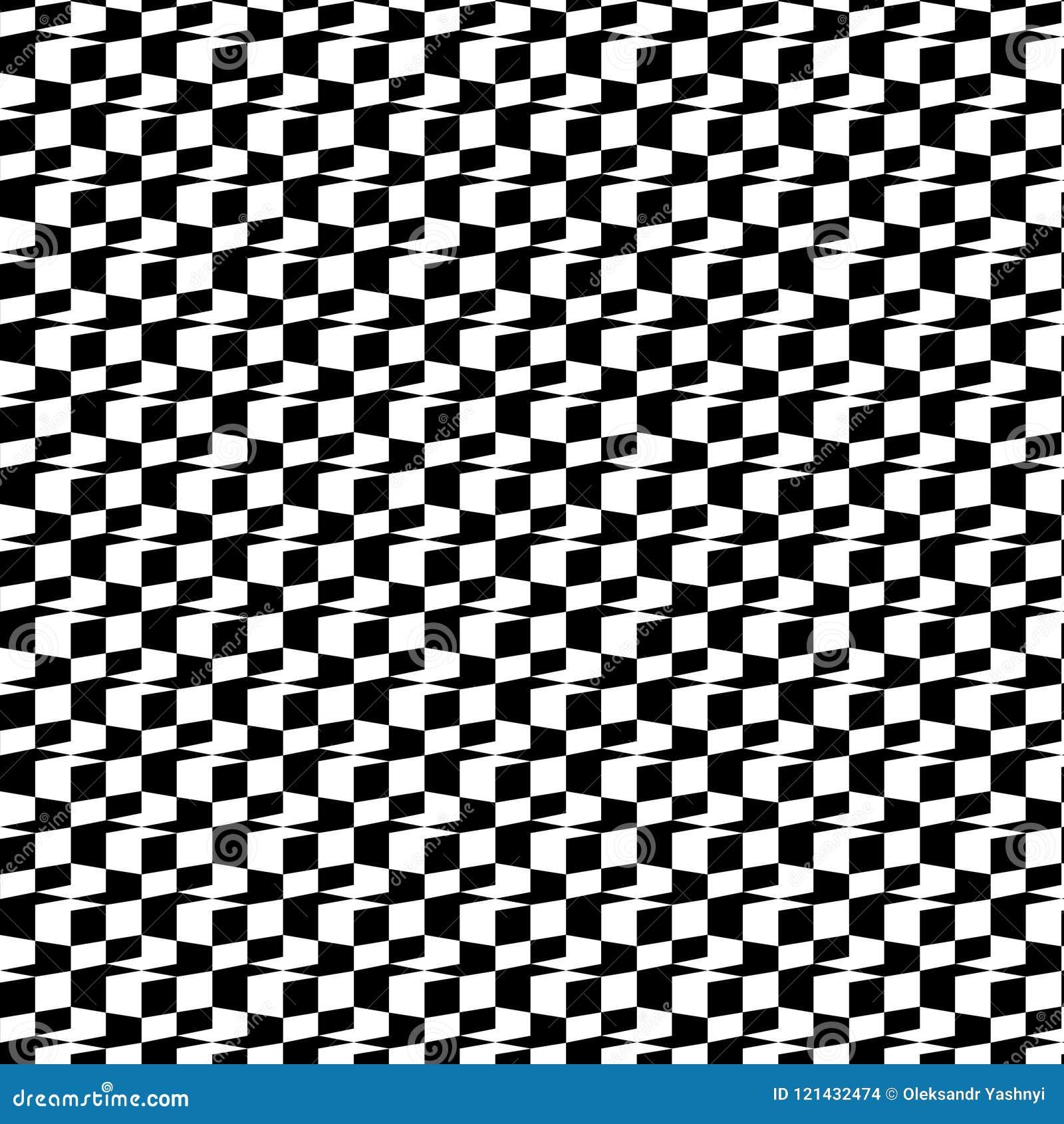 Abstract Zwart-wit 3D Geometrisch Naadloos Patroon Vector illustratie Optische illusie Schaakeffect