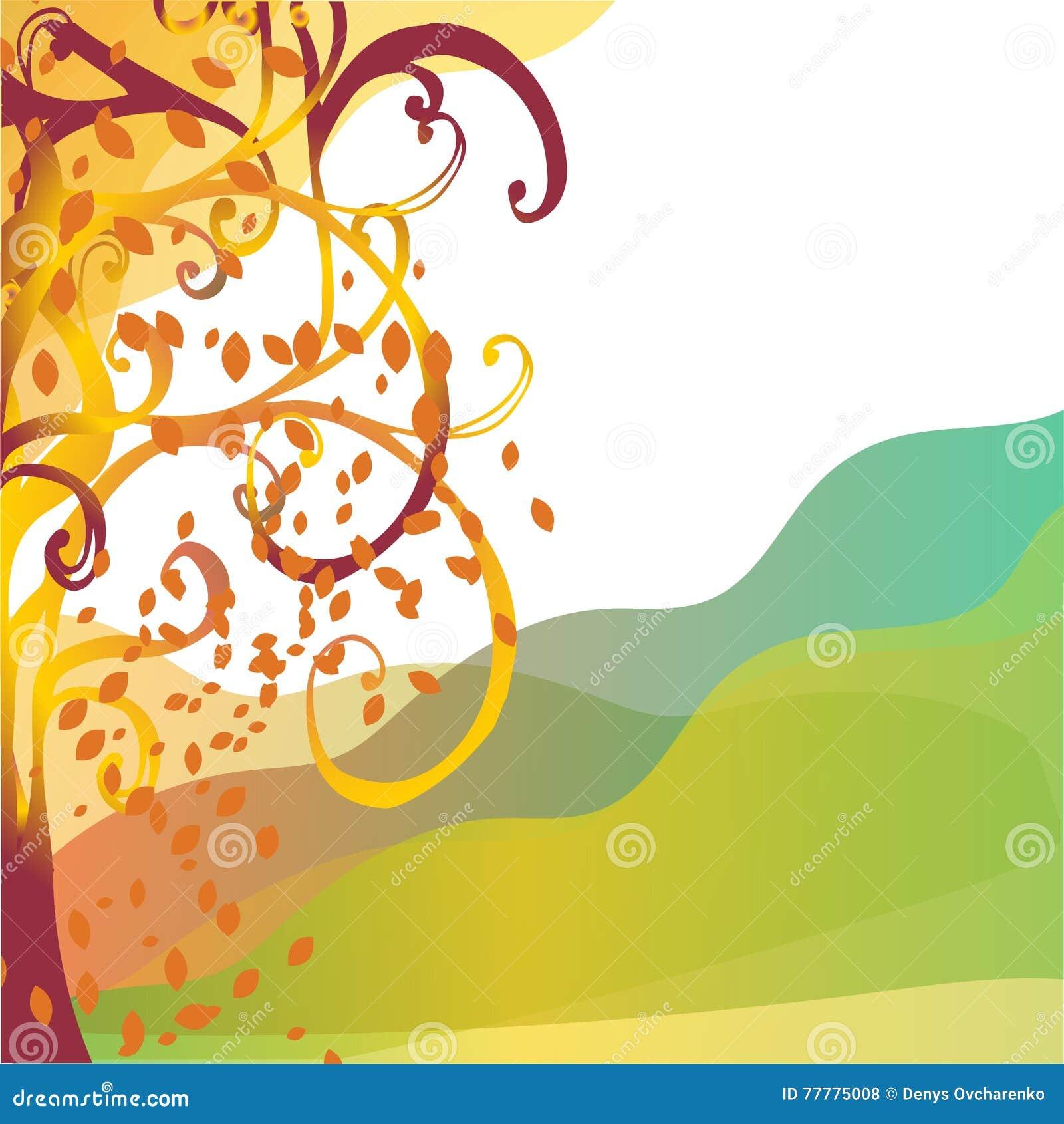 Abstracte achtergrond de herfstboom met gele bladeren