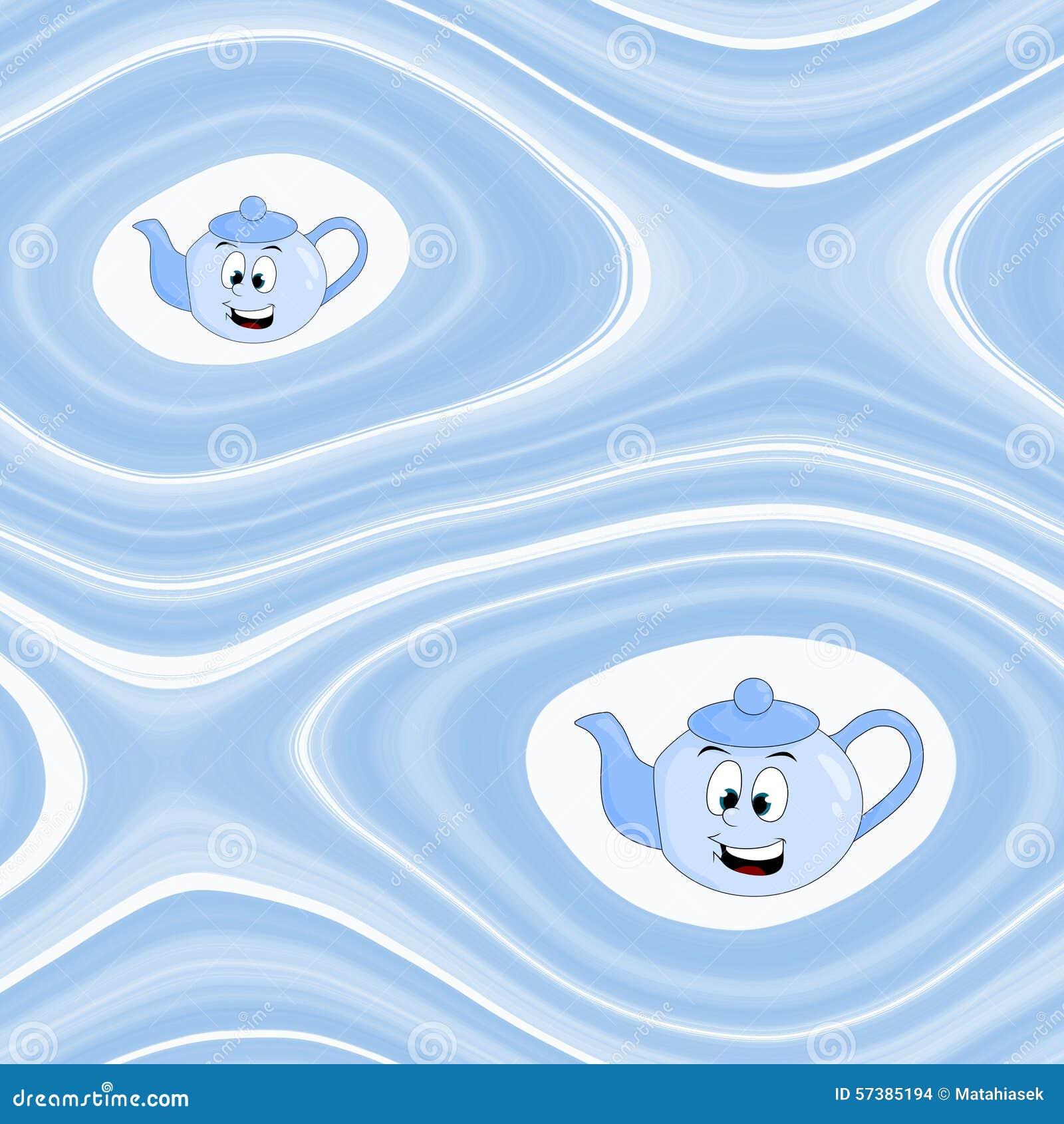 Abstracte achtergrond met beeldverhaalketel in blauw