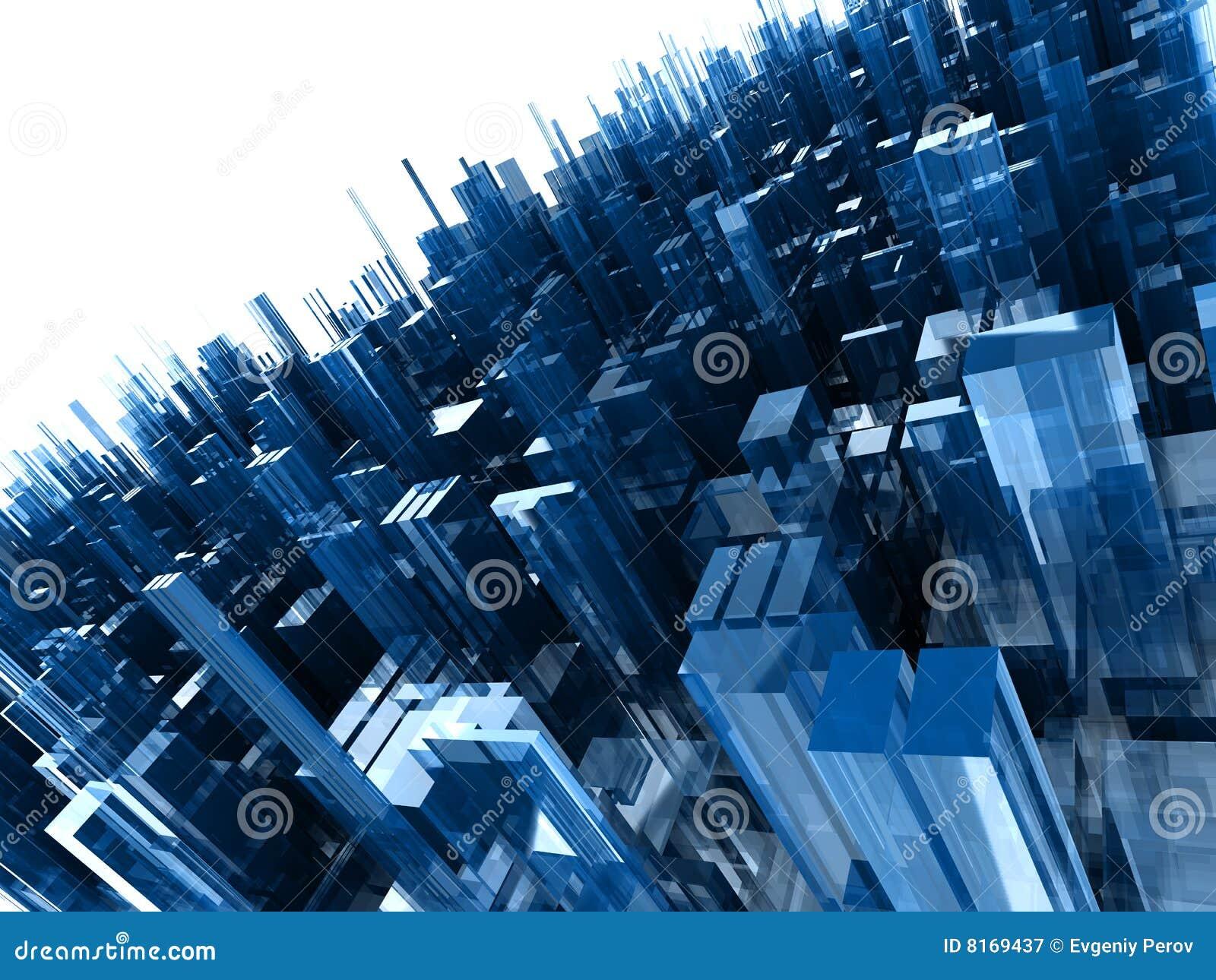 Abstracte achtergrond met blauwe plastic blokken