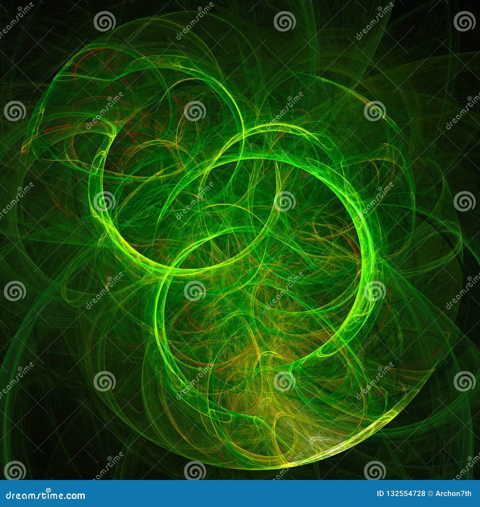 Abstracte achtergrond met heldergroene cirkel op zwarte achtergrond