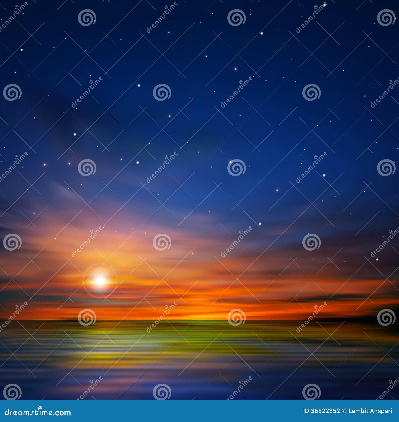 Abstracte achtergrond met overzeese zonsopgang