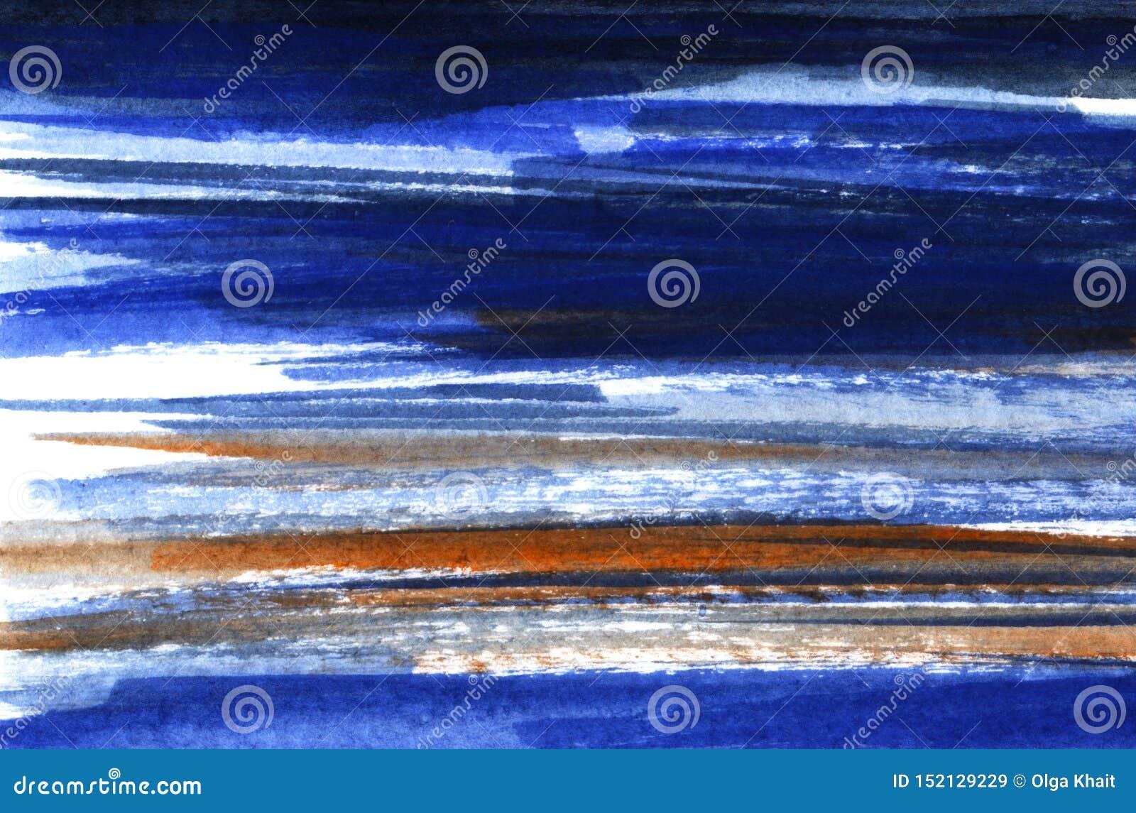 Abstracte achtergrond in waterverftonen Gerimpelde (document) textuur Hand met donkerblauw wordt getrokken die, blauw, bruin en w