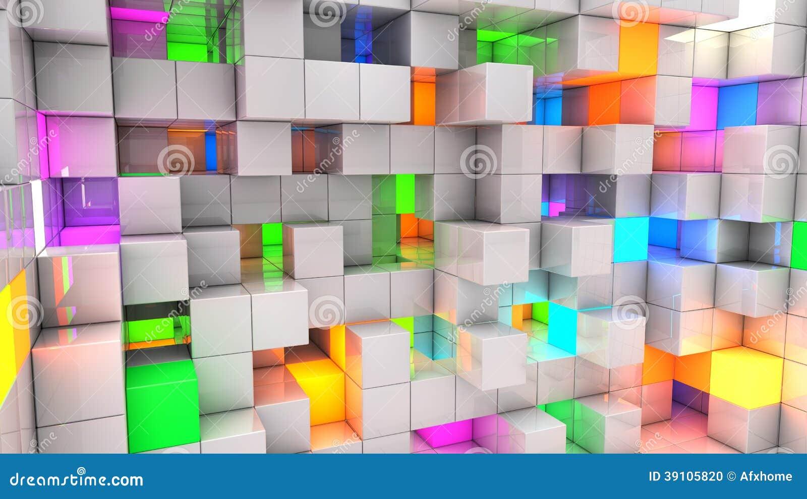 Abstracte achtergrondkleuren lichte kubussen