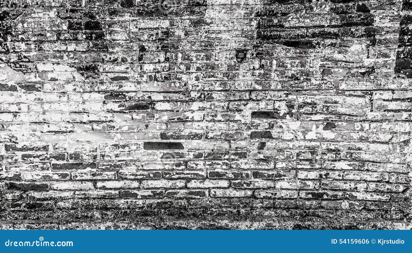 Abstracte Bakstenen Muur Op Zwart-witte Achtergrond Stock Foto ...