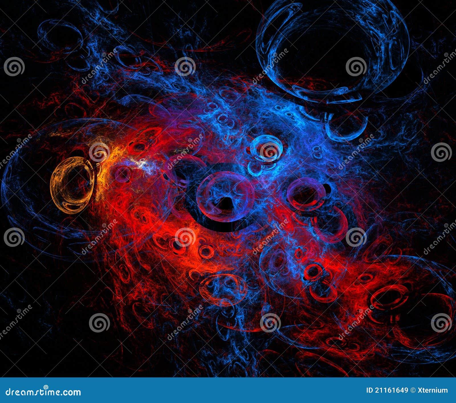 Abstracte bellen en cellen in ruimte