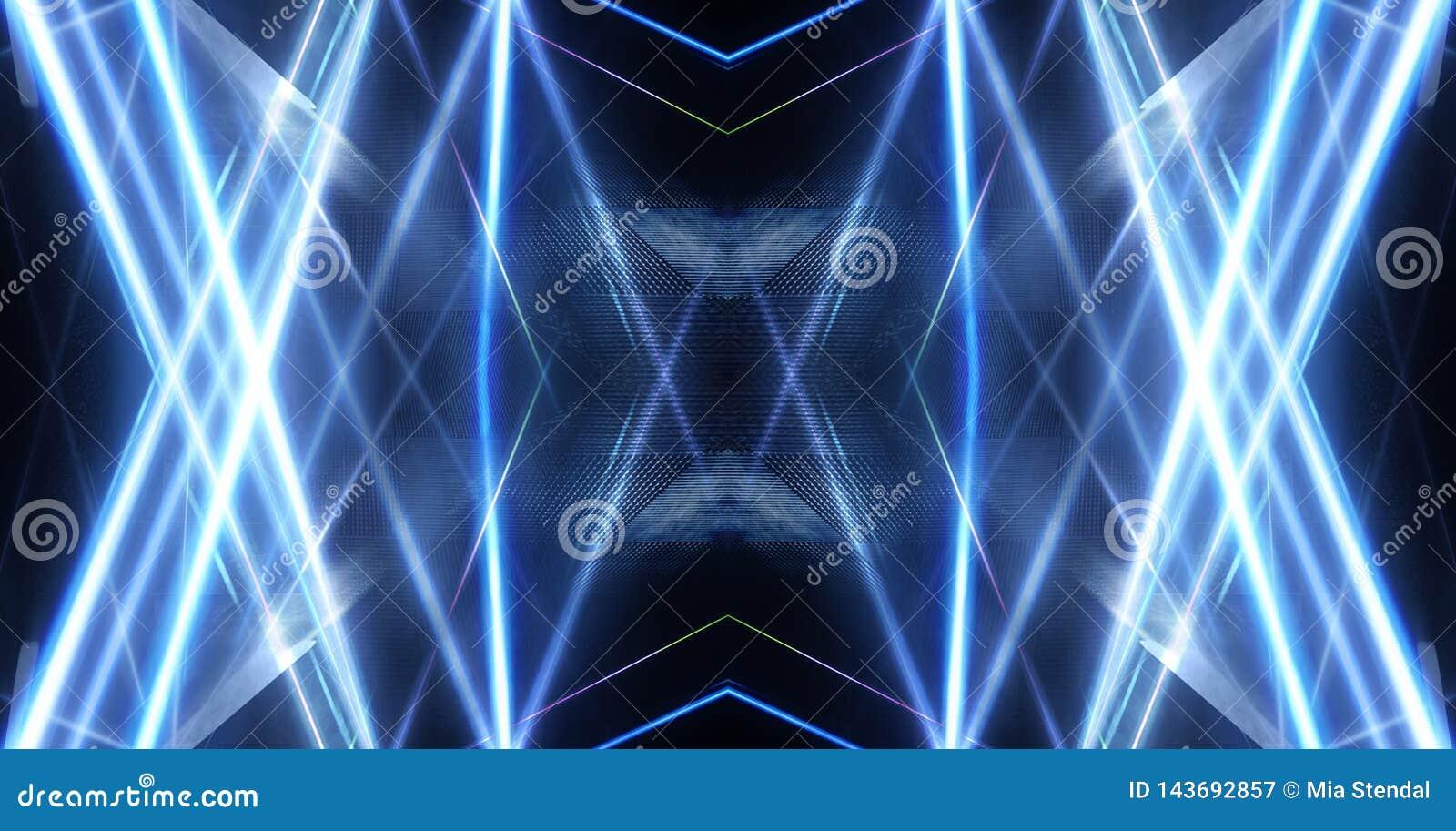 Abstracte blauwe achtergrond met stralen van neonlicht, schijnwerper, bezinning op het asfalt