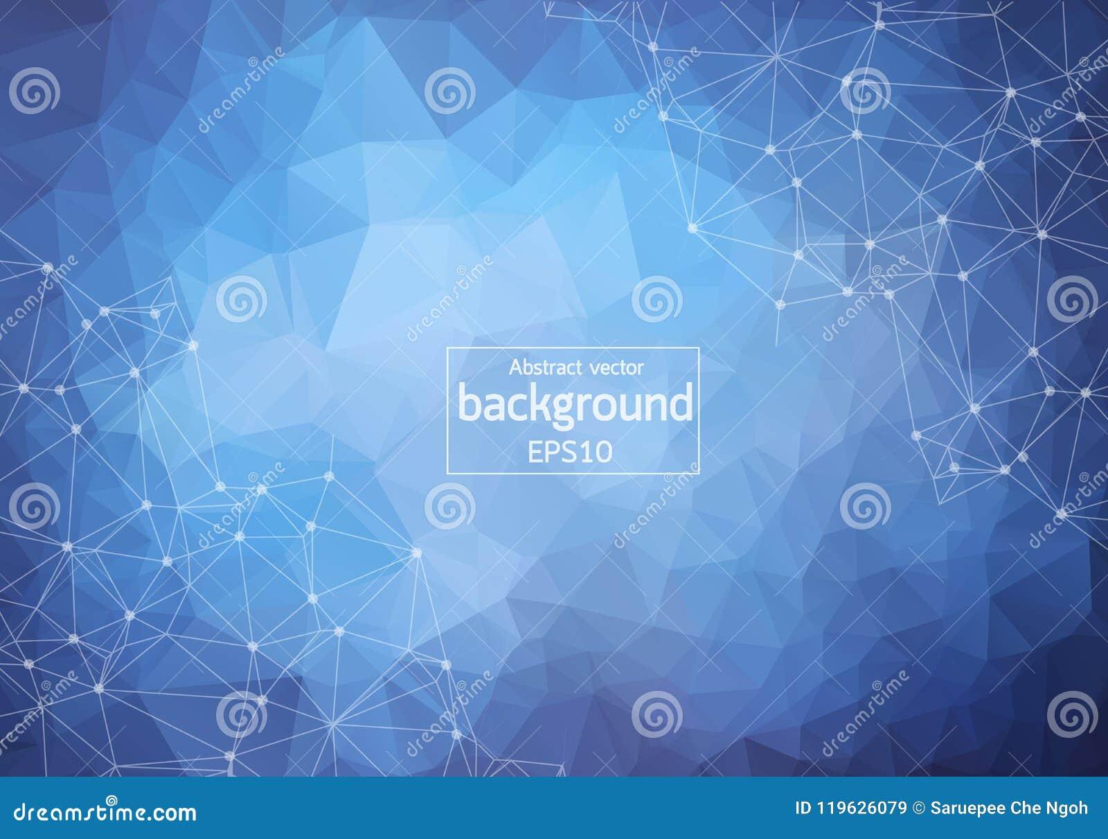 Abstracte Blauwe Donkere Geometrische Veelhoekige molecule en mededeling als achtergrond Verbonden lijnen met punten Concept de w