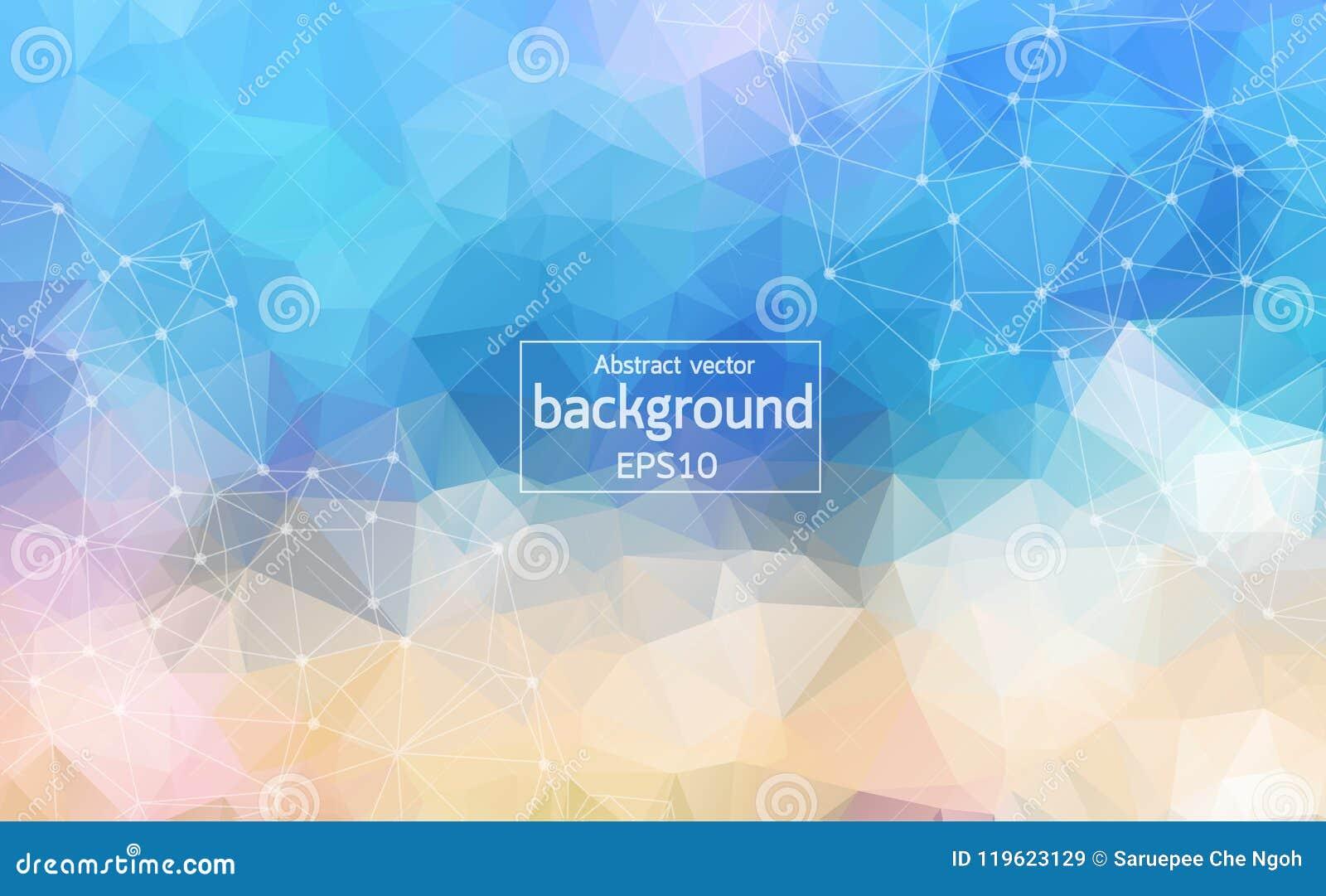 Abstracte Blauwe Geometrische Veelhoekige molecule en mededeling als achtergrond Verbonden lijnen met punten Concept de wetenscha