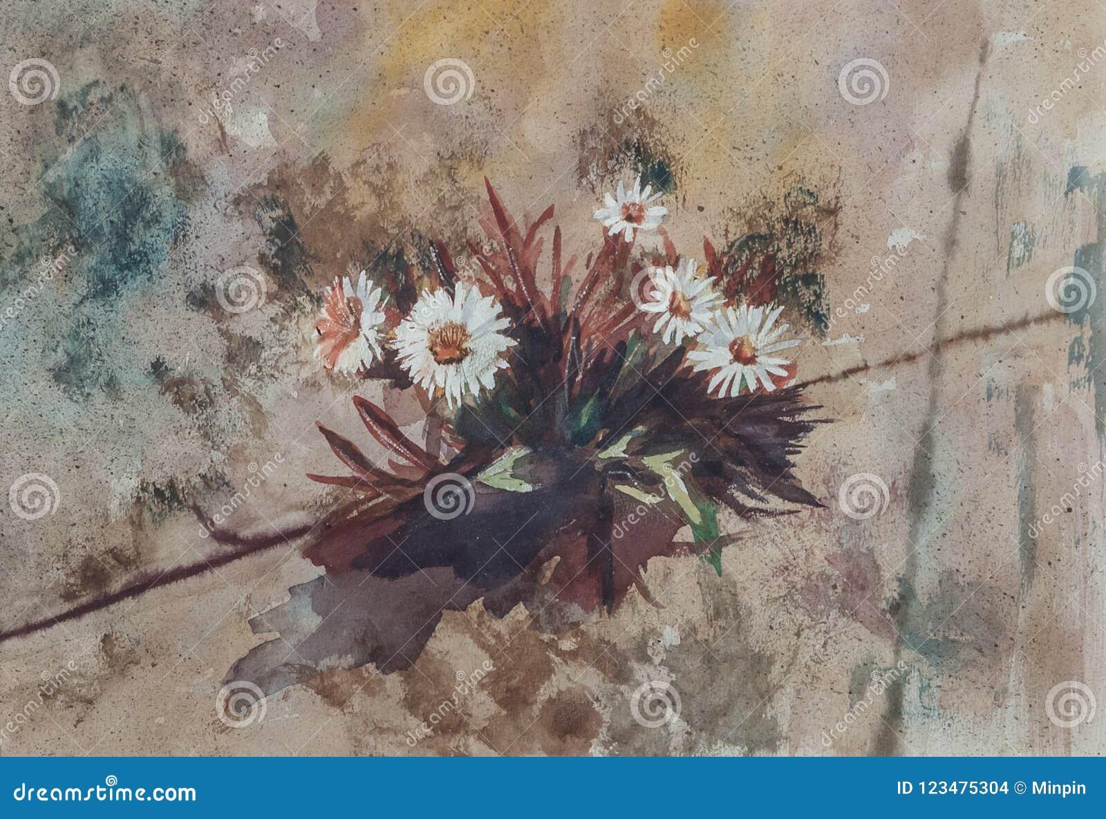 Abstracte Bloemen - het Originele Waterverf Schilderen