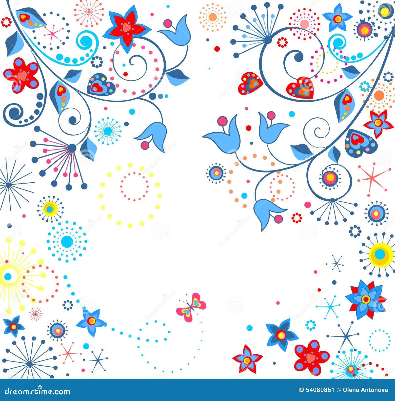 Abstracte bloemenprentbriefkaar
