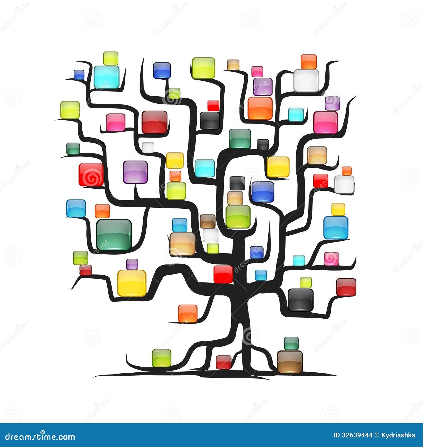 Abstracte boom met glanzende ballen voor uw ontwerp stock afbeeldingen afbeelding 32639444 - Boom ontwerp ...