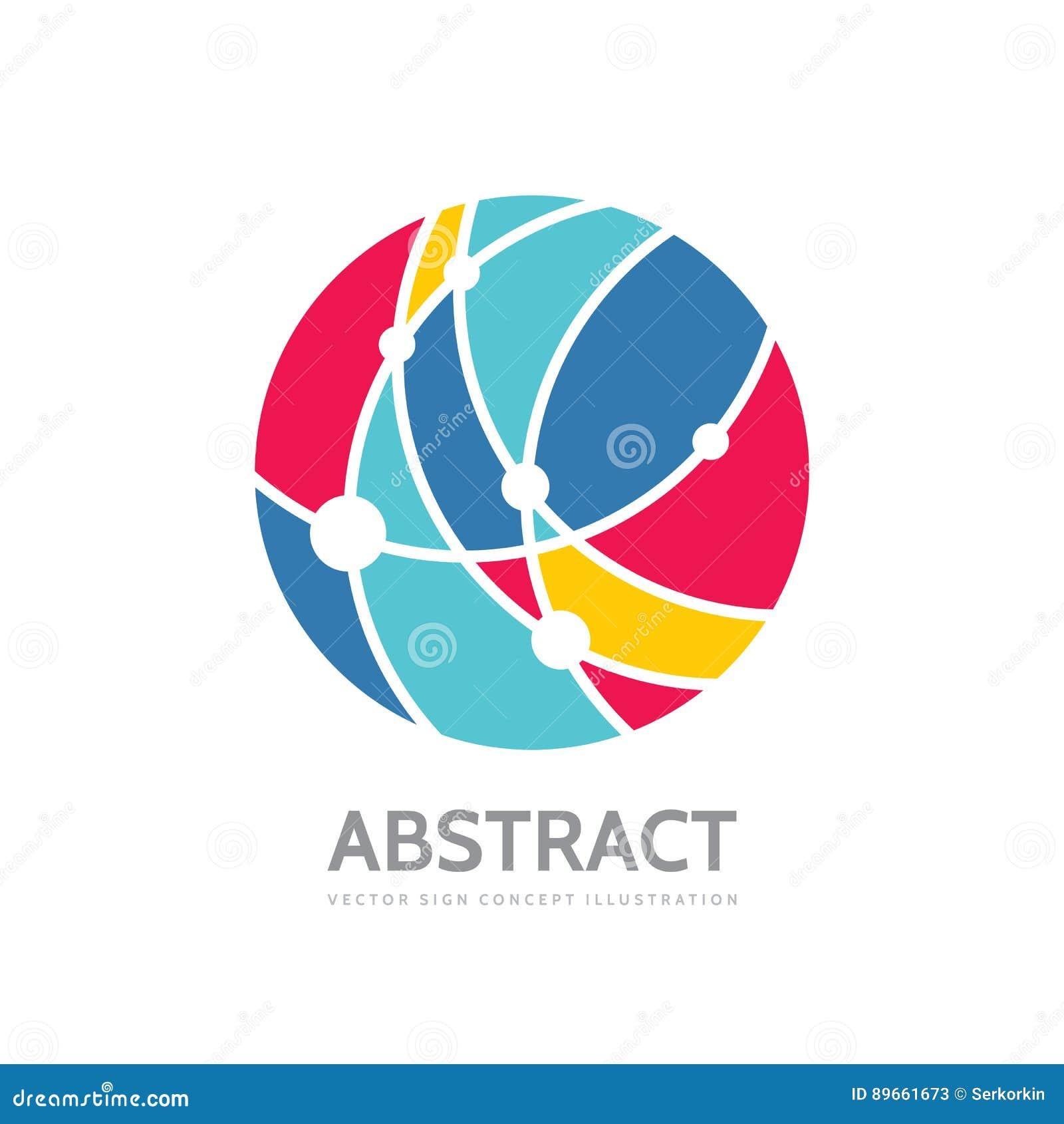 Abstracte cirkel - vector het conceptenillustratie van het embleemmalplaatje Modern technologieteken Globaal netwerk creatief sym