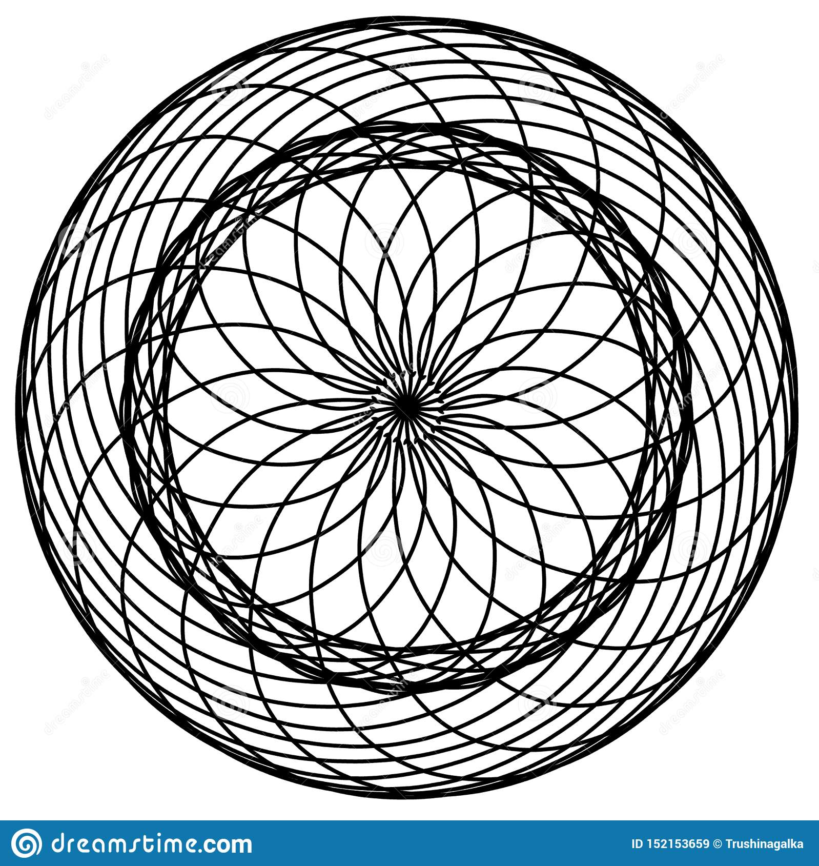 Abstracte cirkelselementen Dreamcatcher Astrologie, spiritualiteit, magisch symbool Etnisch stammenelement
