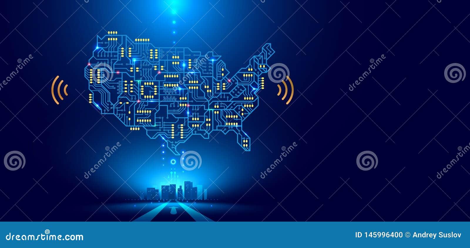 Abstracte communicatienetwerkkaart de V.S. of Amerika als gedrukte kringsraad Slimme stad die aan land wordt verbonden technologi
