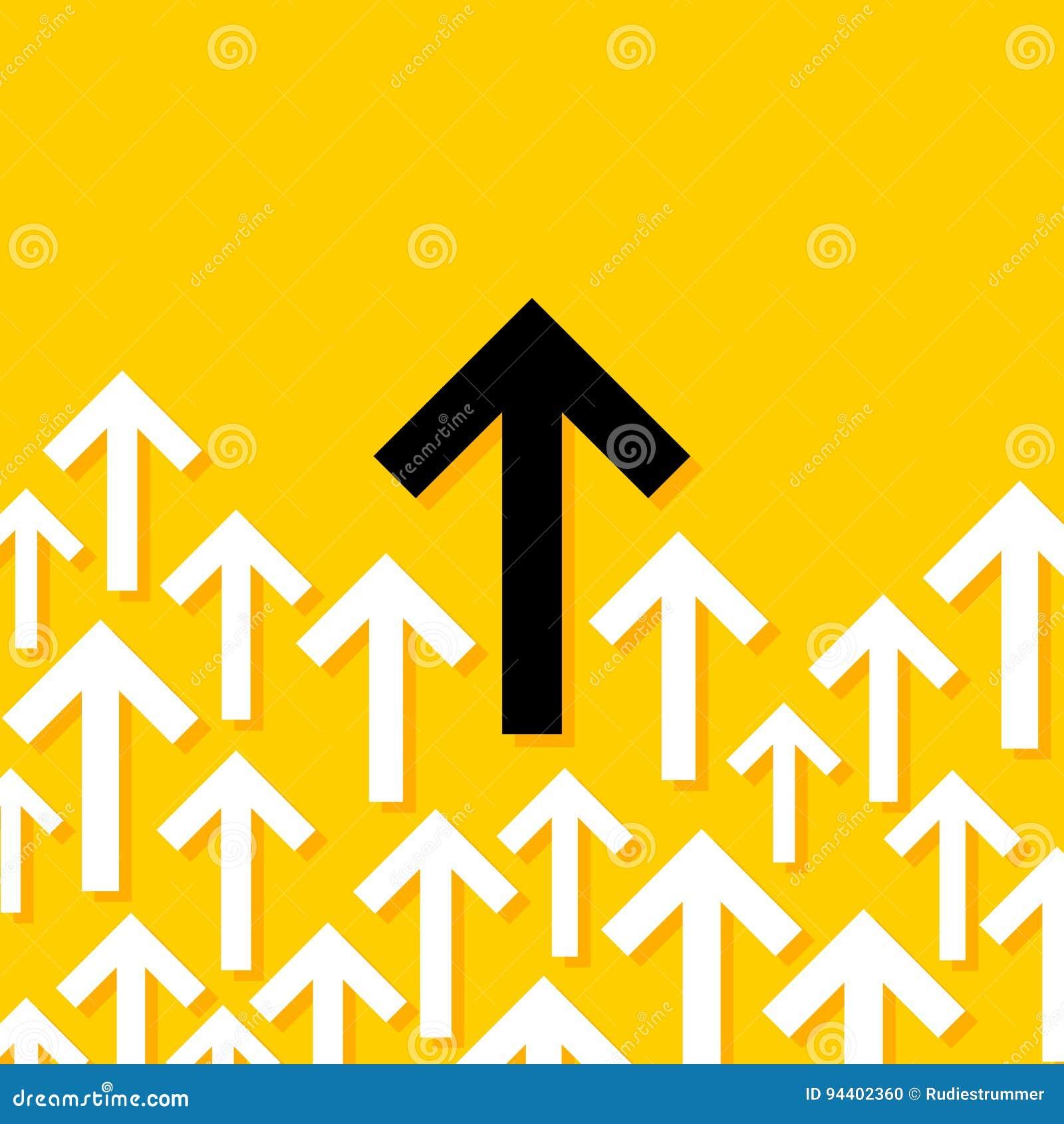 Abstracte conceptuele illustratie die van witte en zwarte pijlen in één richting wijzen