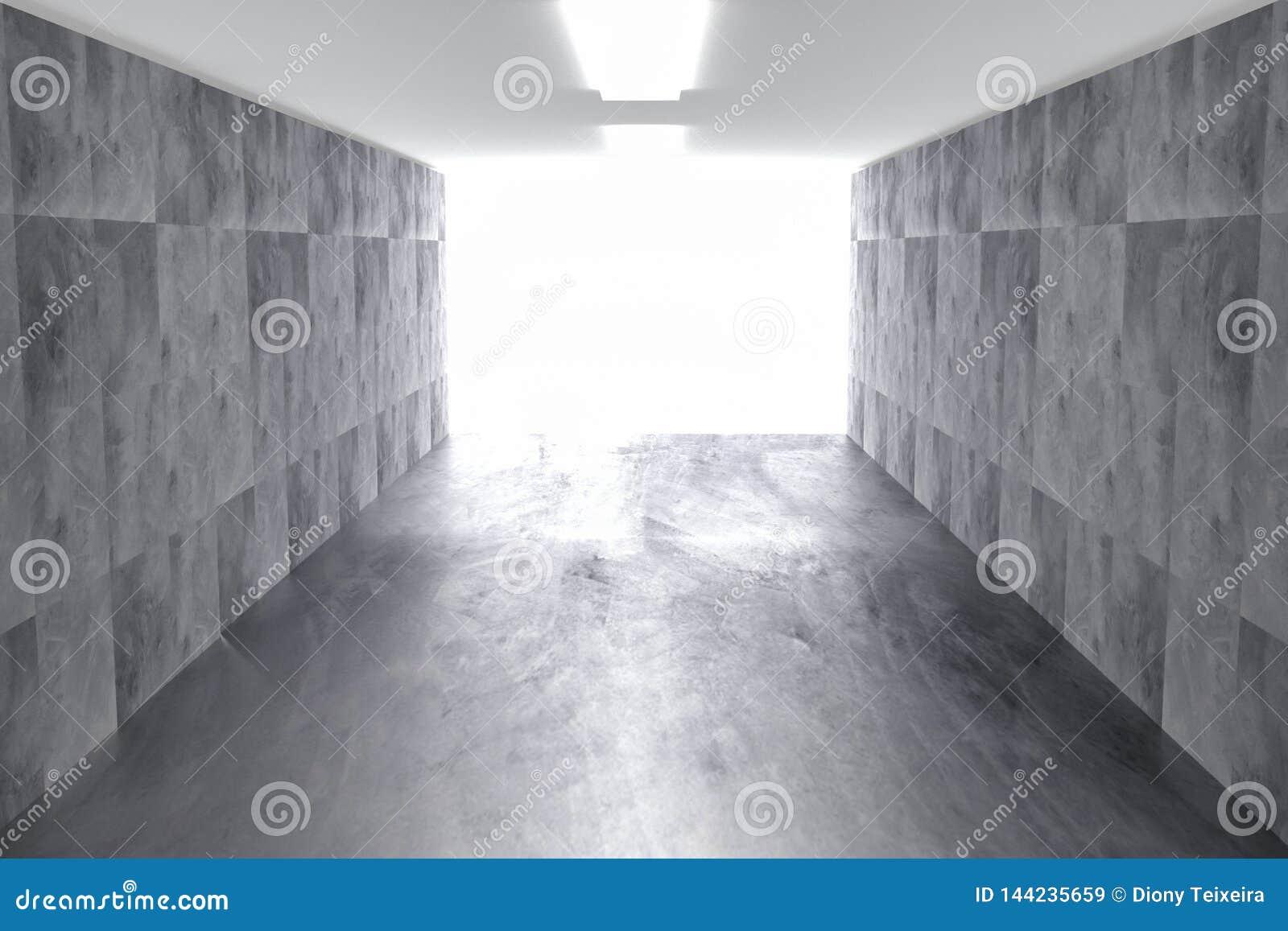 Abstracte concrete geometrische achtergrond met licht 3d geef terug