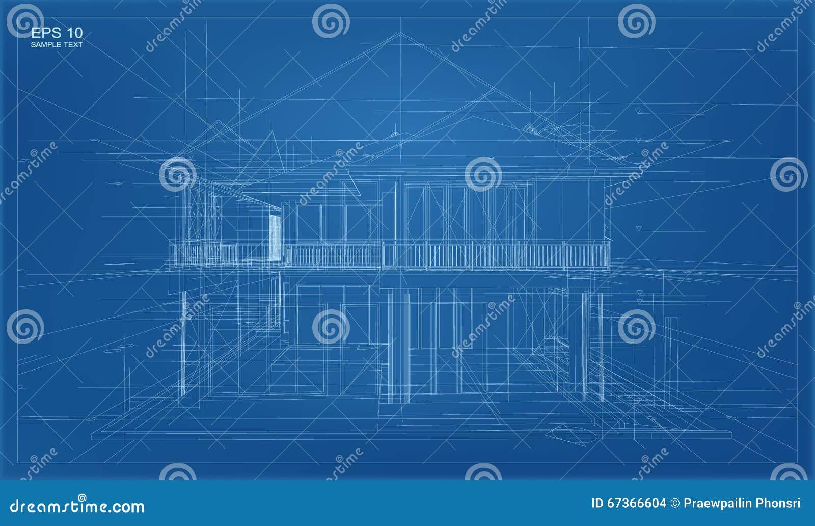 Abstracte 3D geeft van de bouw van wireframe structuur terug