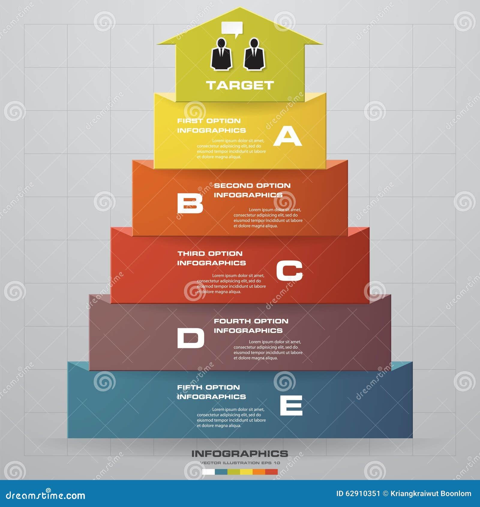 Abstracte 3d het diagram van de bedrijfs pijltrap stapopties
