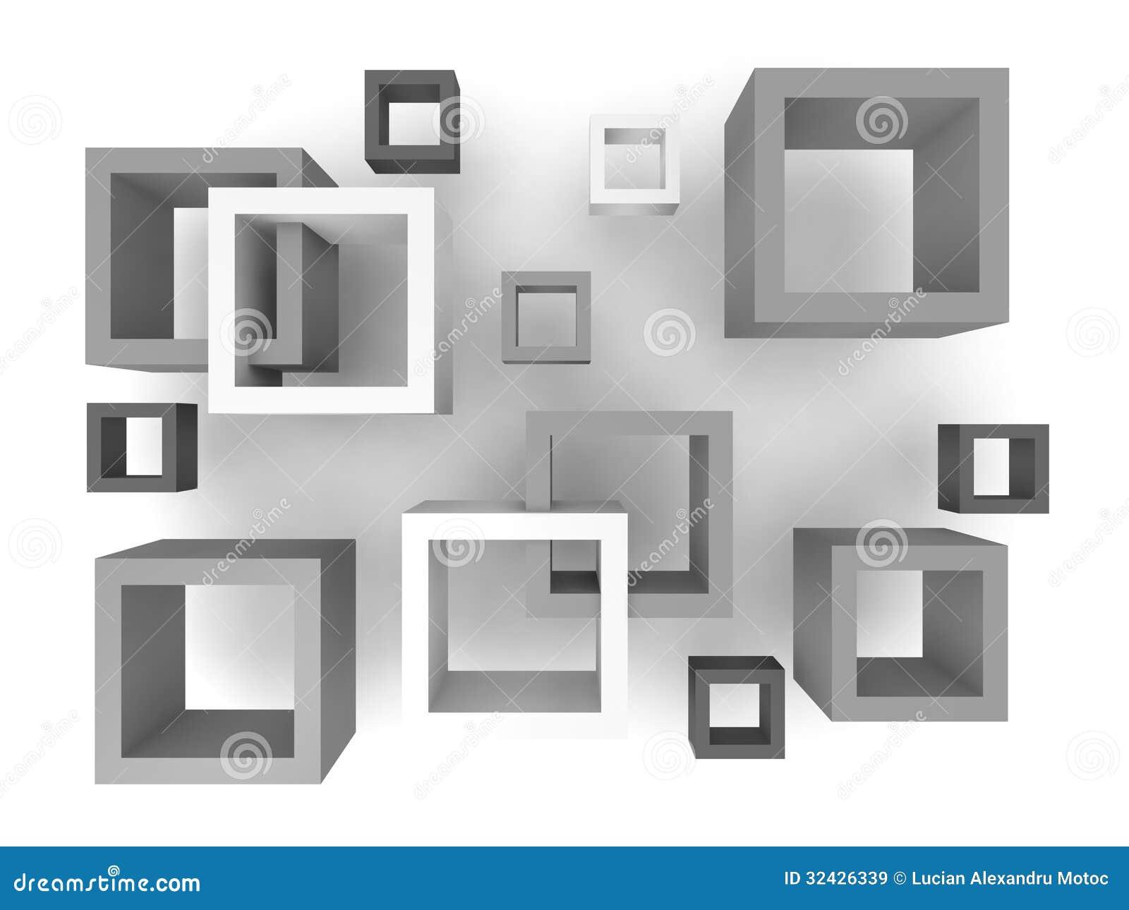 Abstracte 3D Vierkanten