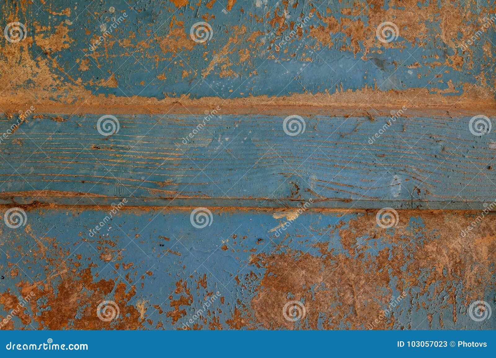 Abstracte de textuurachtergrond van de oppervlakte houten lijst Bluerusticmuur van oud hout wordt gemaakt dat