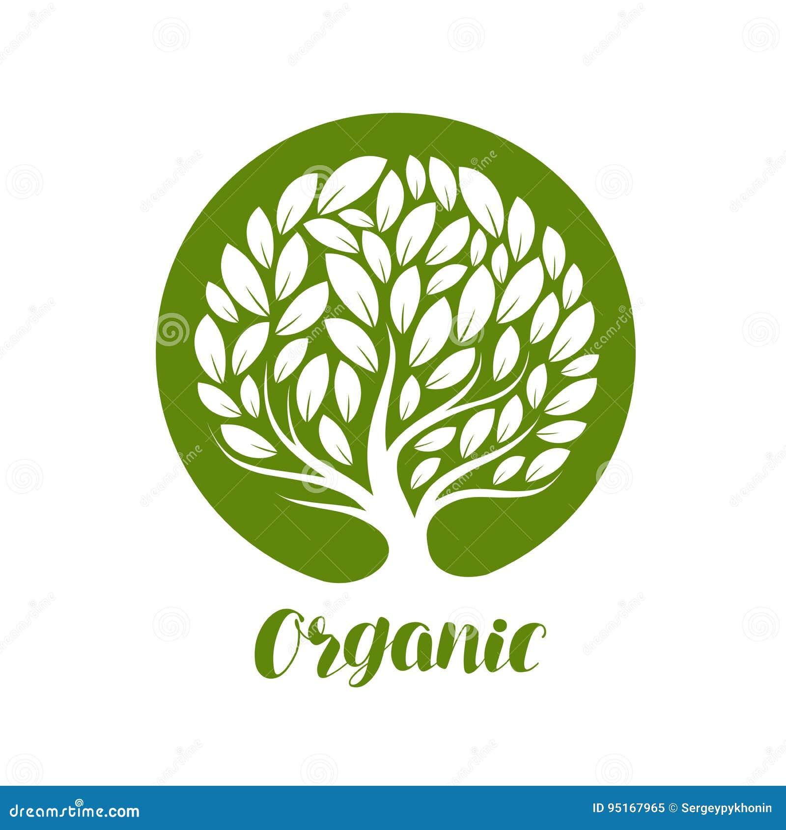 Abstracte decoratieve boom met bladeren Ecologie, natuurlijke, organische etiket of embleem Vector illustratie