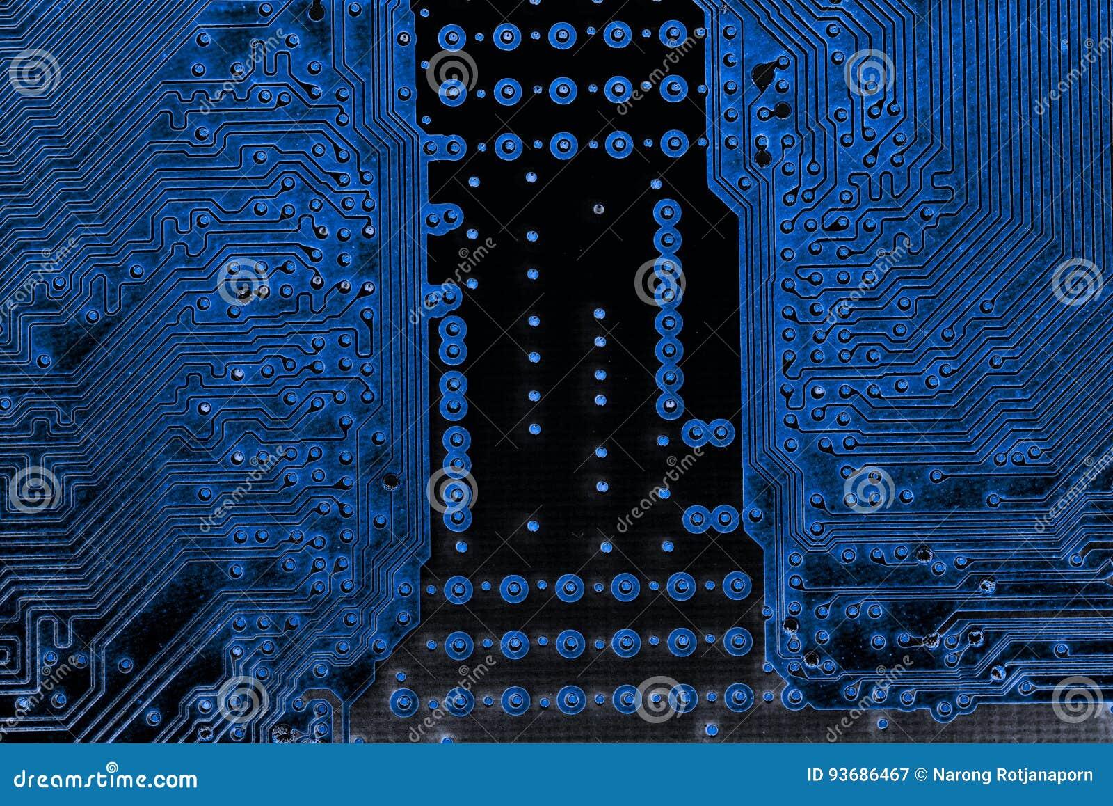 Abstracte dichte omhooggaand van Elektronische Kringen in Technologie op Mainboard-computerachtergrond