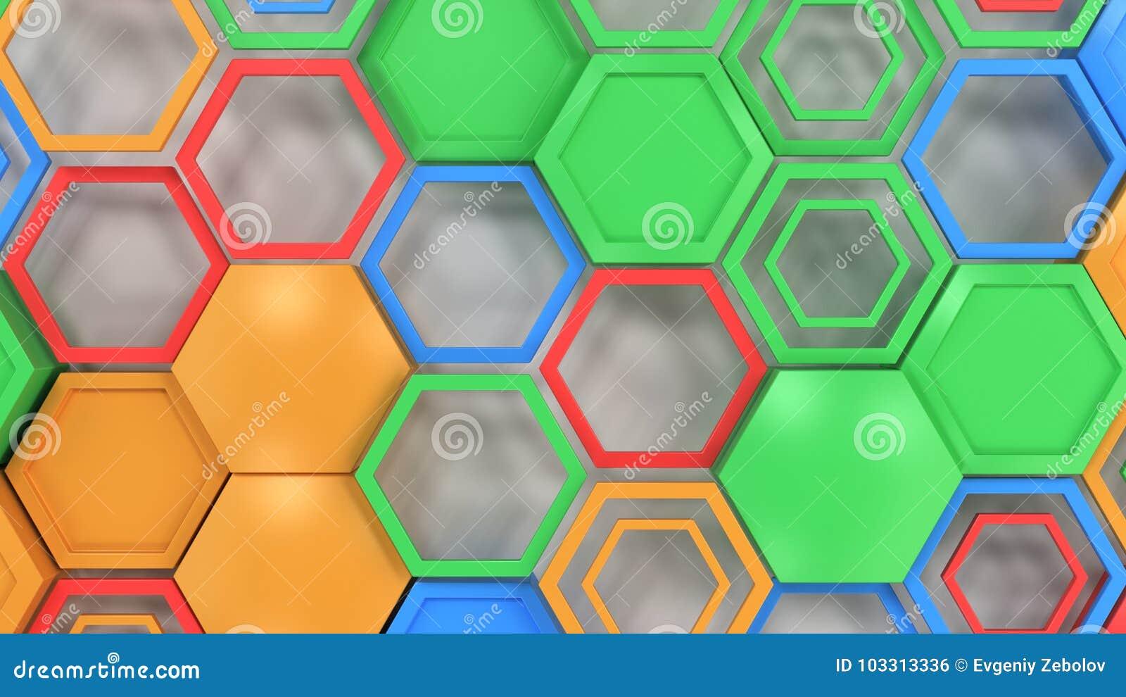 Abstracte die 3d achtergrond van blauw, rood, groen en sinaasappel wordt gemaakt hexag