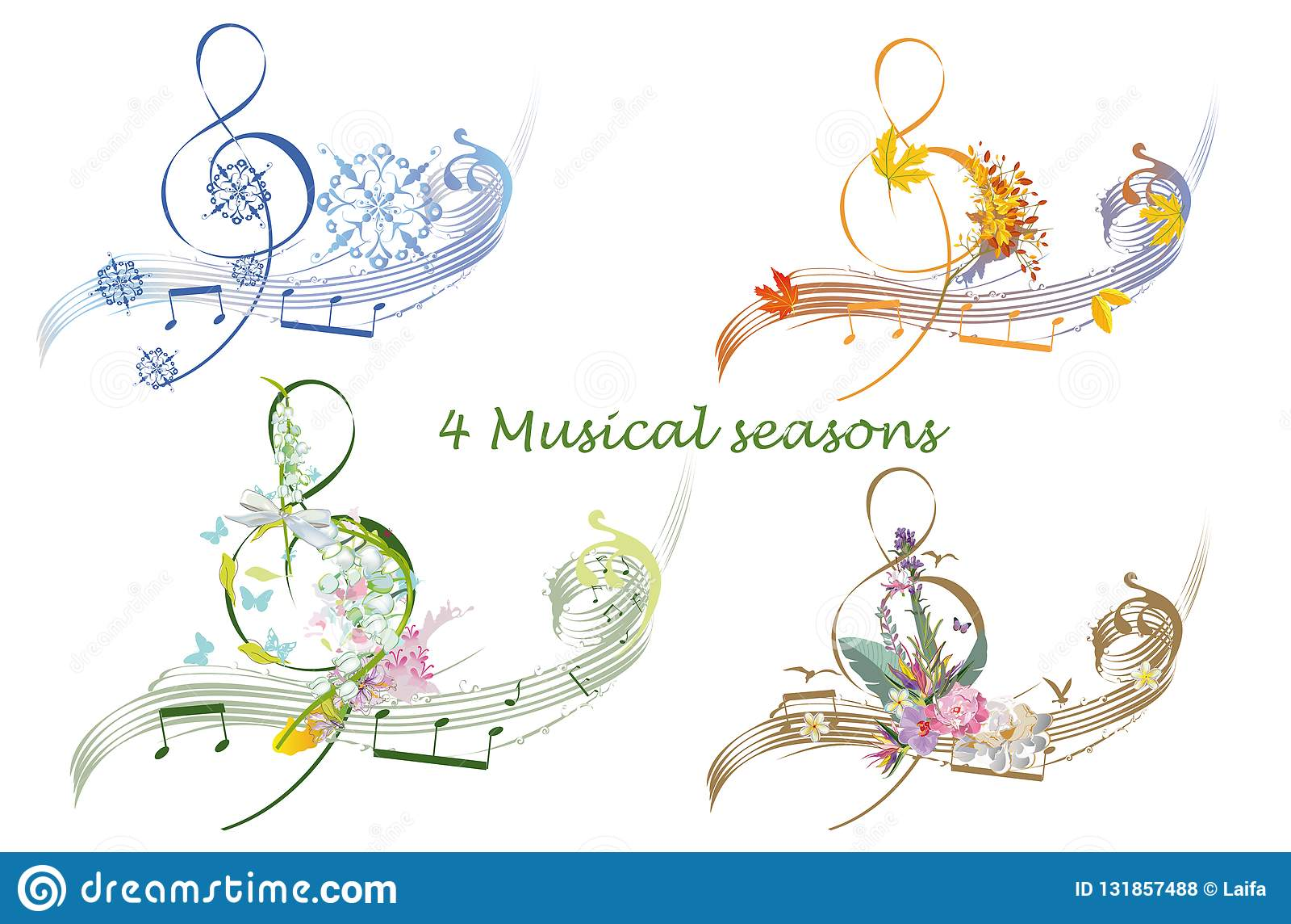 Abstracte die g-sleutel met de zomer, de herfst, de winter en de lentedecoratie wordt verfraaid: bloemen, bladeren, nota s, vogel