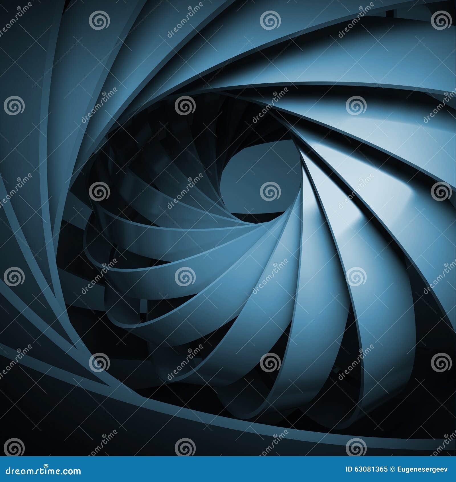 Abstracte digitale achtergrond met donkerblauwe 3d spiraal