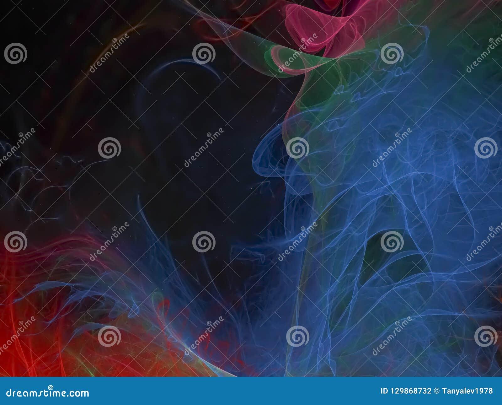 Abstracte digitale fractal, behandelt kleurrijk stijlmalplaatje, magisch creatief ontwerp, futuristische mooie gloed