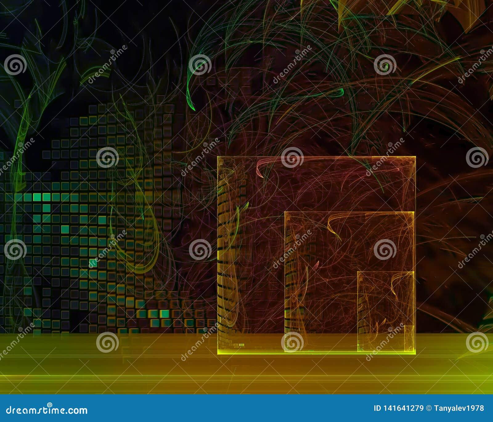 Abstracte digitale malplaatjefractal creatieve fantasie, artistiek, dynamische elegantie,
