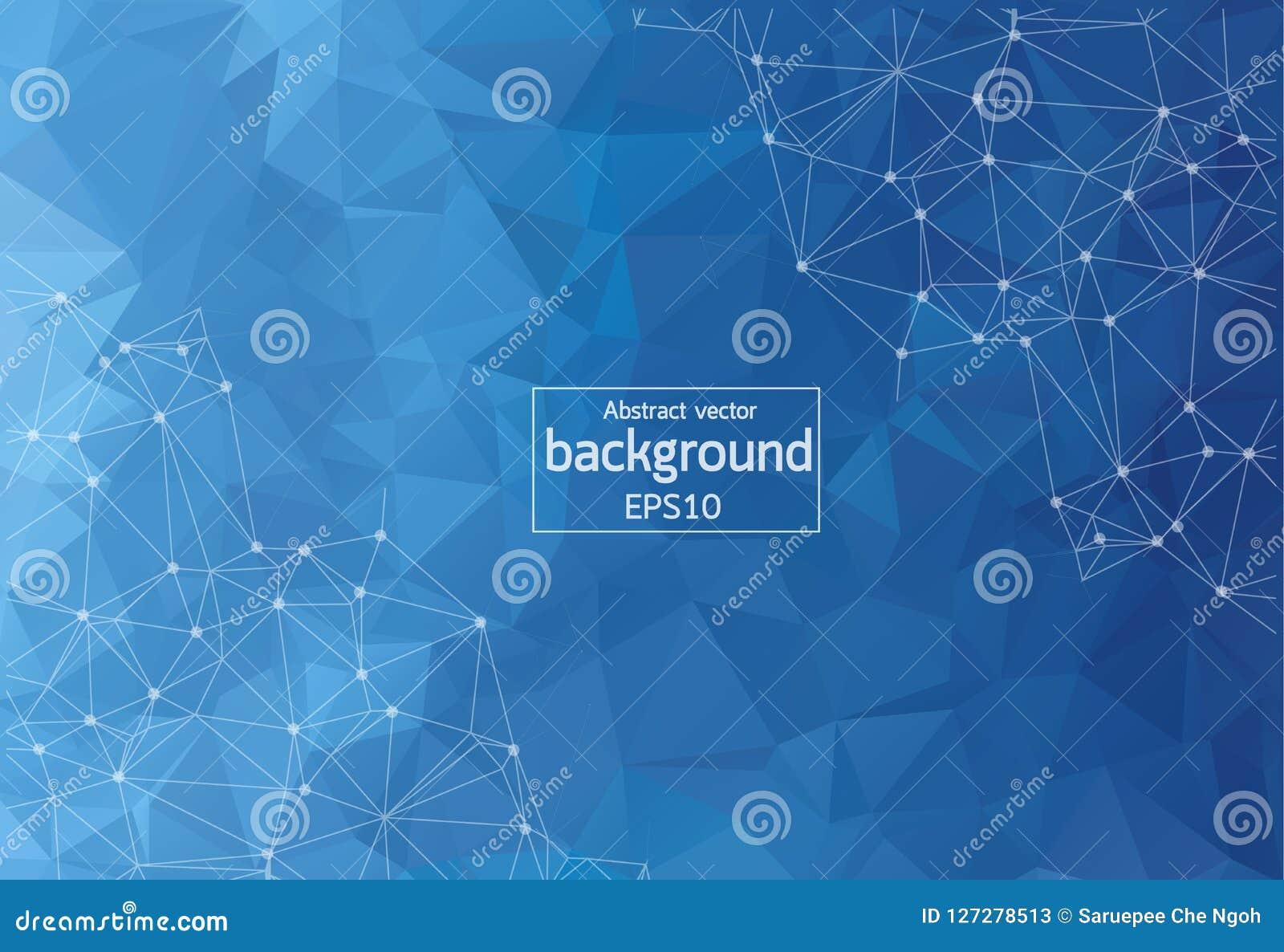 Abstracte Donkerblauwe Geometrische Veelhoekige molecule en mededeling als achtergrond Verbonden lijnen met punten Concept de wet