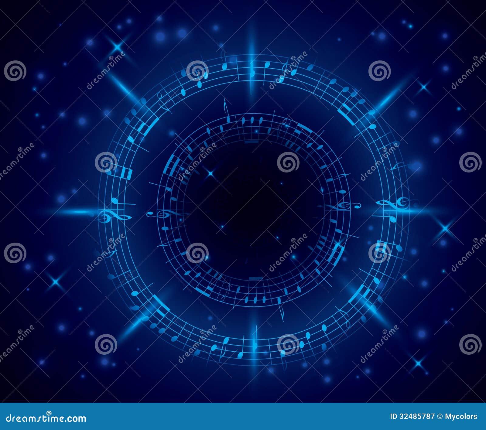 Abstracte donkerblauwe muziekachtergrond met nota s