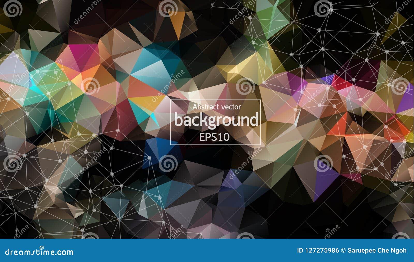 Abstracte Donkere Geometrische Veelhoekige molecule en mededeling als achtergrond Verbonden lijnen met punten Concept de wetensch