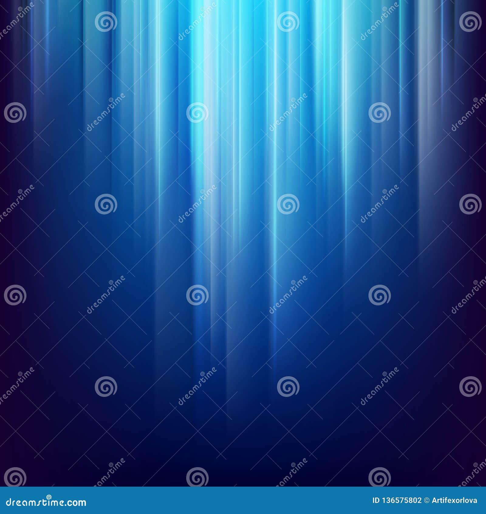 Abstracte donkere ruimteachtergrond met gloeiende blauwe lichte lijnen Eps 10